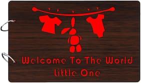 "Studio Shubham  ""Welcome to the world little one""wooden brown photo album(26cmx16cmx4cm)"