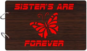 "Studio Shubham  ""Sisters are forever""wooden brown photo album(26cmx16cmx4cm)"