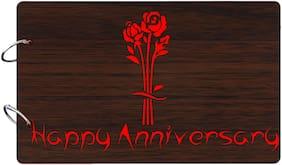 "Studio Shubham  ""Happy Anniversary""wooden brown photo album(26cmx16cmx4cm)"