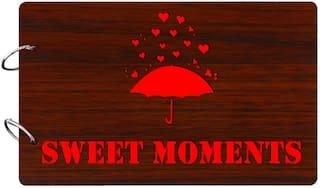"Studio Shubham  ""Sweet Moments""wooden brown photo album(26cmx16cmx4cm)"
