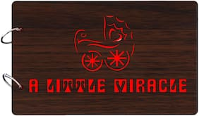 "Studio Shubham  ""A little miracle""wooden brown photo album(26cmx16cmx4cm)"