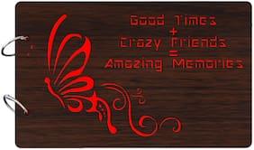 """Studio Shubham  """"Amazing memories with crazy friends""""wooden brown photo album(26cmx16cmx4cm)"""