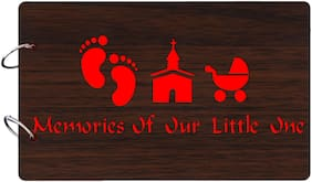 "Studio Shubham  ""Memories of our little one""wooden brown photo album(26cmx16cmx4cm)"