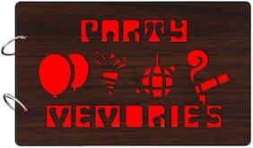 """Studio Shubham  """"Party Memories""""wooden brown photo album(26cmx16cmx4cm)"""