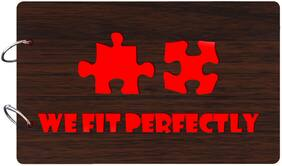"Studio Shubham  ""We Fit perfectly""wooden brown photo album(26cmx16cmx4cm)"
