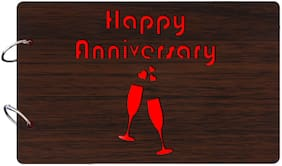 "Studio Shubham  ""Happy anniversary""wooden brown photo album(26cmx16cmx4cm)"