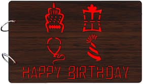"Studio Shubham  ""Happy Brirthday""wooden brown photo album(26cmx16cmx4cm)"