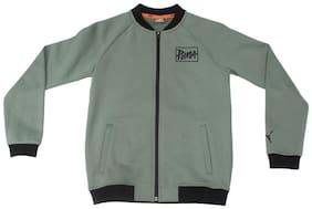 Puma Boy Cotton Solid Sweater - Green
