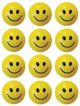 Stylewell Cute Smiley Stress Buster Pack Of 12 pcs Balls - 6 cm (Yellow)