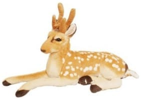 Stylewell Stitching Soft Stuffed Toy Beauty of Jungle Deer For Home, Car & Bedroom - 20 cm (Beige)