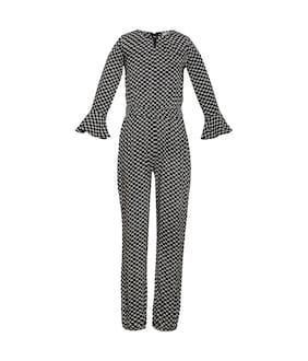 OXOLLOXO Viscose Printed Dungaree For Girl - Black