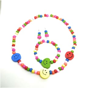 Stylish and colourful  kids jewellery set in wooden beads