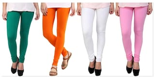 259b25a512fff Buy Stylobby Green Orange White And Baby Pink Kids Legging Pack Of 4 ...