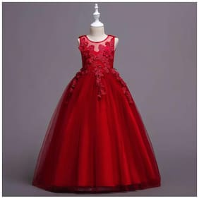 Sugar Rush Poly cotton Solid Frock - Red