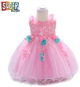 Sugar Rush Baby girl Blended Solid Princess frock - Pink