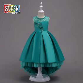 SUGAR_RUSH Chic Girl's Lace Green Floral Decor Ruffled High Low Satin Party Dress