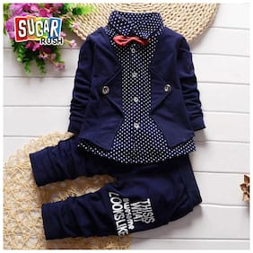 Sugar Rush Boy Cotton Blend Top & Bottom Set - Blue