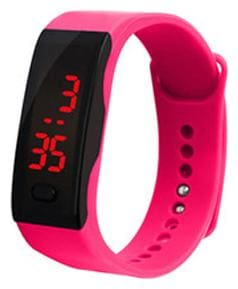 Sukavi Kids Casual Running Sports Wrist Watch Rubber Band LED Digital Display Watch (Pink Color)