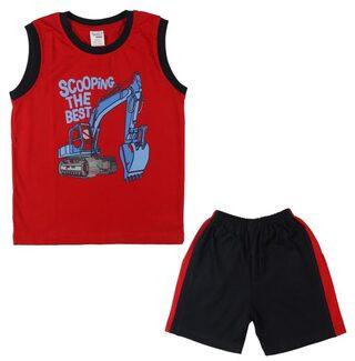 MABYN Boy Cotton Top & Bottom Set - Red