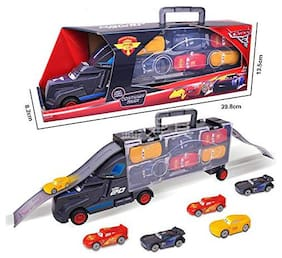 SUPER TOY 6 in 1 Vehicle Playsets 1 Truck and 6PCS Mini Model Car Figure Toys for Kids