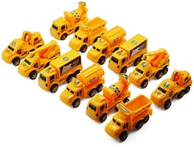 Super Toy Unbreakable Construction Trucks Toys for Kids - 12 Pcs (Yellow)