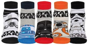 Supersox Disney Star Wars Ankle Length Socks Collection for Kids Pack of 5 Multi (1-2 Years)