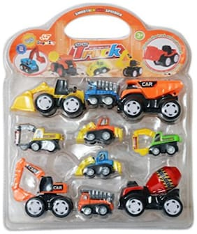 SuperToy Construction Vehicle - Dumper + JCB + Cement Mixer + Transport Truck + Garbage Truck+ Container + Crain - Unbreakable ABS Plastic Friction Powered Kids Automobile Toy Set (of 10)