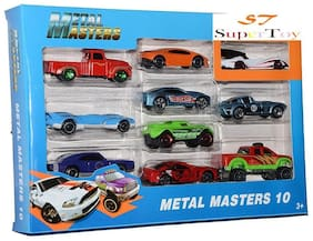 SuperToy Die Cast Metal Master Cars Pack of 10 of different colorful models
