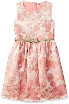 SUPERYOUNG Pink Cotton Sleeveless Knee Length Princess Frock ( Pack of 1 )