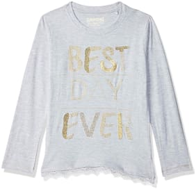 SUPERYOUNG Girl Cotton Embellished T shirt - Grey