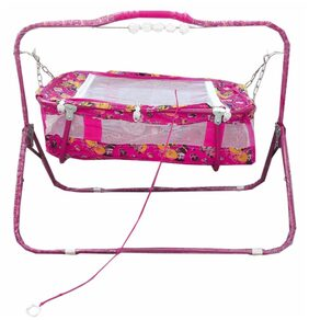 Oh Baby Baby Pink Cradles(Jhulla And Palna) With Mosquito Net For Your Kids Se-Jp-23