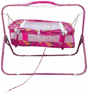Oh Baby Baby pink cradles(JHULLA and PALNA) with mosquito net for your kids SE-JP-01