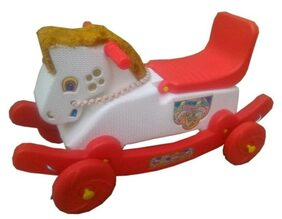 Oh BabyMulticolor Rocking Plastic Horse With Wheel