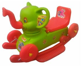 Oh BabyMulticolor Rocking Plastic Elephant With Wheel