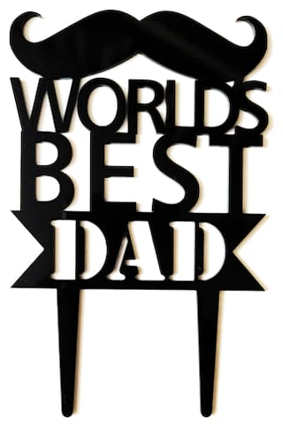 SURSAI Black Cake Topper for Our First Hero (Worlds Best DAD) Design Cake Topper;Pack of 1