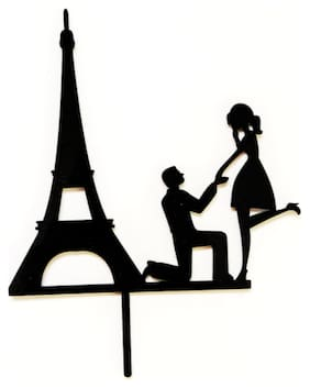 SURSAI Black Couple Eiffel Tower Propose Design Cake Topper for Wedding | Marriage | Reception | Party | Anniversary Pack of 1