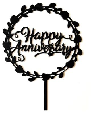 SURSAI Black Round Design Happy Anniversary Cake Topper Pack of 1
