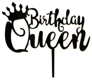 SURSAI Black Birthday Queen with Crown Design Cake Topper for Decoration Pack of 1