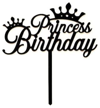 SURSAI Black Princess Birthday Cake Topper for Decoration Pack of 1