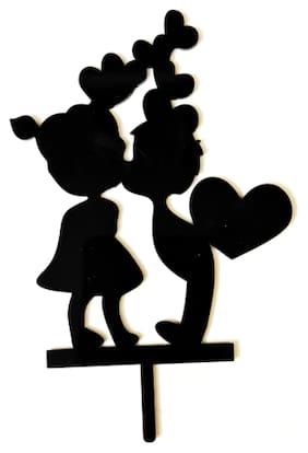 SURSAI Black Cake Topper for Love Birds (KISS ME) Design Cake Topper for Cake Decoration Pack of 1