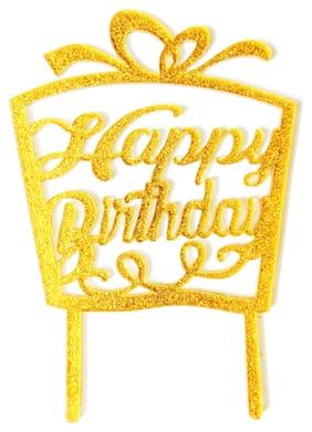 SURSAI Golden Zari Happy Birthday Gift Box Cake Topper for Decoration Pack of 1