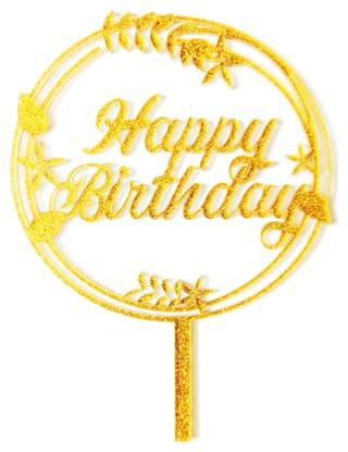 SURSAI Golden Zari Round Design Happy Birthday Cake Topper for Decoration Pack of 1