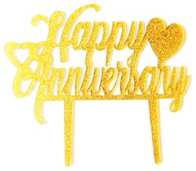 SURSAI Golden Zari Happy Anniversary Cake Topper with Heart Design for Decoration Pack of 1