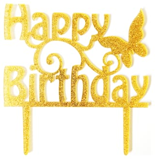 SURSAI Golden Zari Butterfly Happy Birthday Cake Topper for Decoration Pack of 1