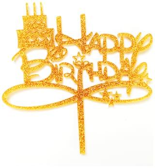 SURSAI Golden Zari Cake Design Happy Birthday Cake Topper for Decoration Pack of 1