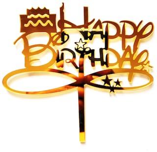 SURSAI Mirror Golden Cake Design Happy Birthday Cake Topper for Decoration Pack of 1