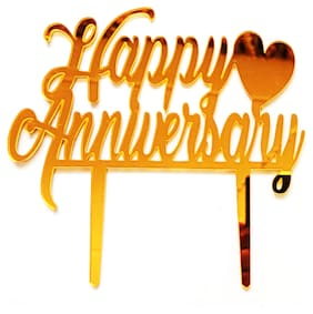 SURSAI Mirror Gold Heart Design Happy Anniversary Cake Topper for Decoration Pack of 1