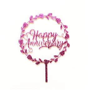 SURSAI Purple Zari Round Design Happy Anniversary Cake Topper for Decoration Pack of 1