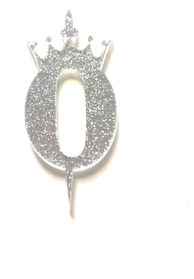 SURSAI Silver Zari With Crown Design 0 Number Cake Topper for Decoration No.0 Cake Topper Pack of 1