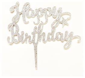 SURSAI Silver Zari Happy Birthday Cake Topper for Decoration Pack of 1